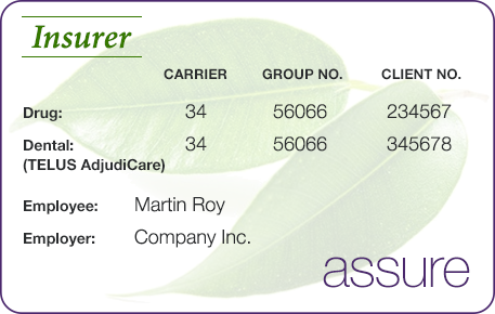 TELUS AdjudiCare card example