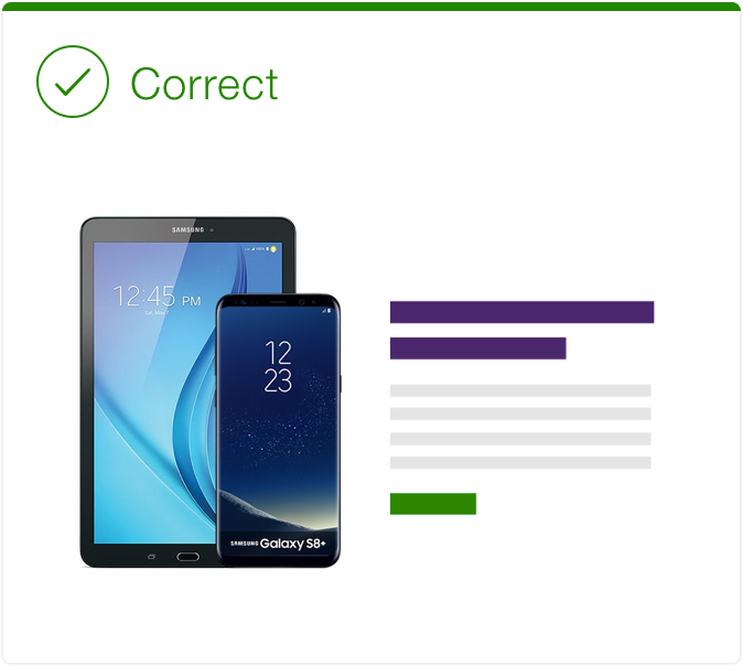 Correct. Text is beside the image of a phone and there is no overlapping.