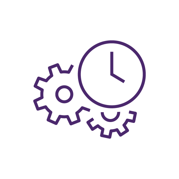 Gears and clock icon