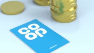 Co-op Membership Card next to pound coins