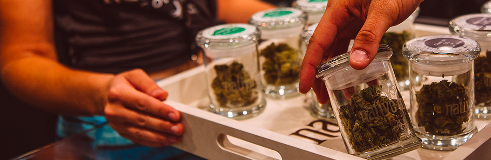 A Tray of Native Roots Dispensary Weed