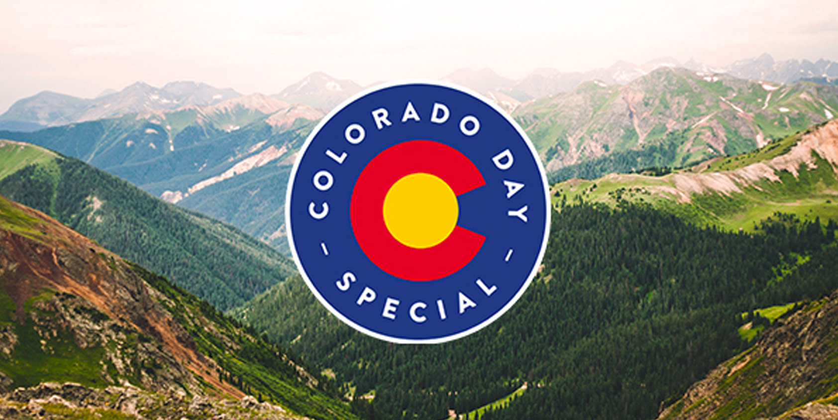 Colorado Mountains with the Native Roots Dispensary Logo for Colorado Day Deals