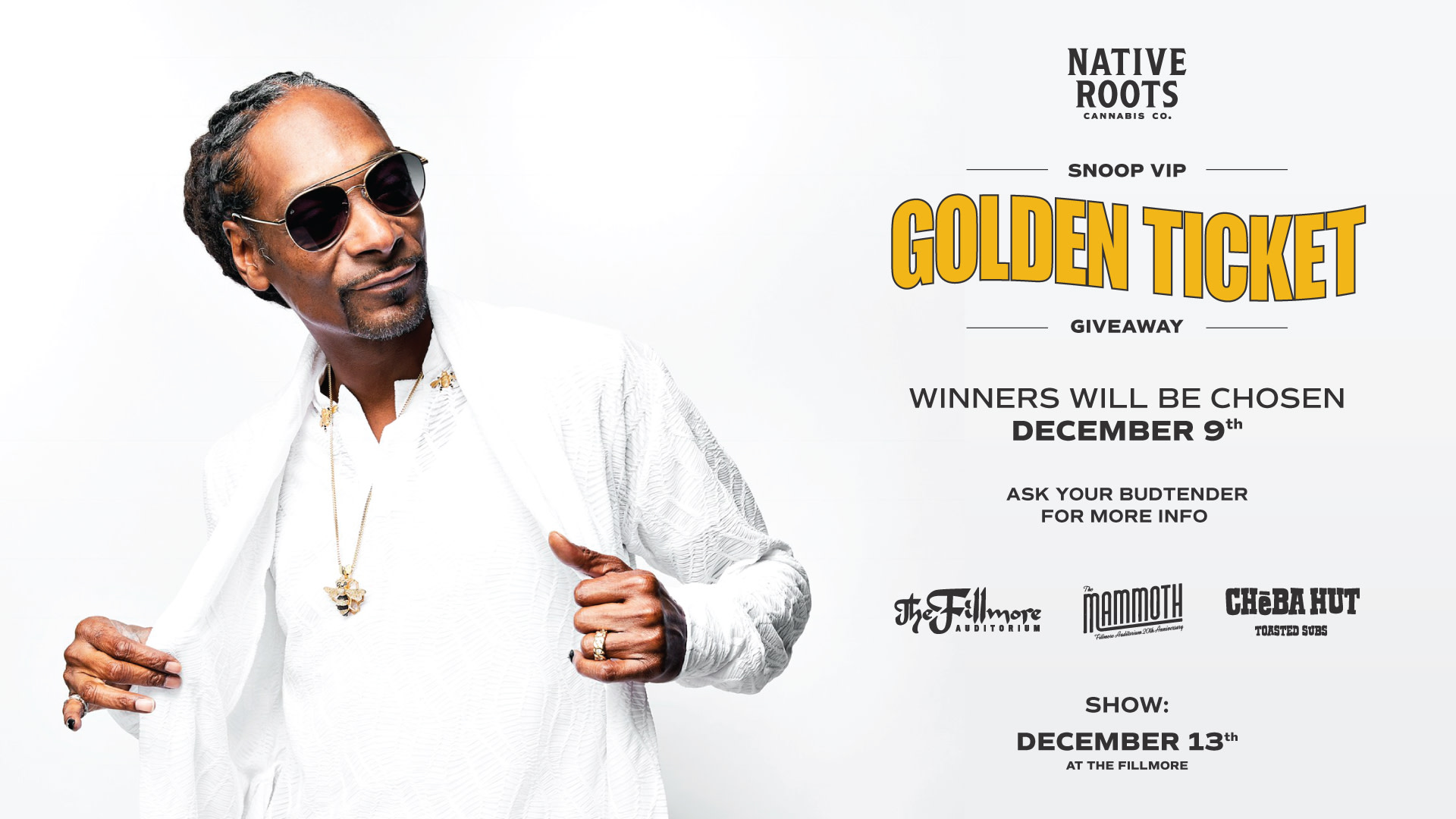 Snoop Concert Giveaway from Native Roots Cannabis Company
