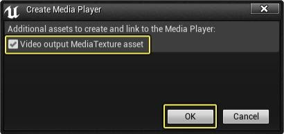 "启用""Video output Media Texture asset""资产选项"