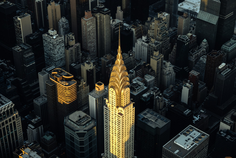 Aerial Photography of Chrysler Building in Helicopter Flight Over New York City