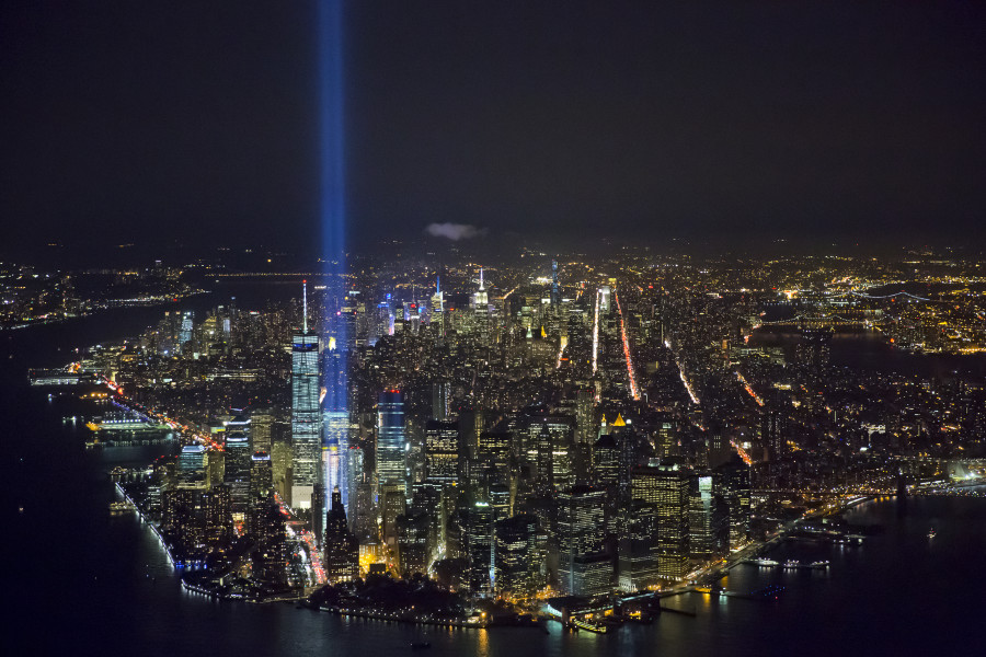 Helicopter Hovers Over New York City To Capture the September 11 Memorial From the Sky
