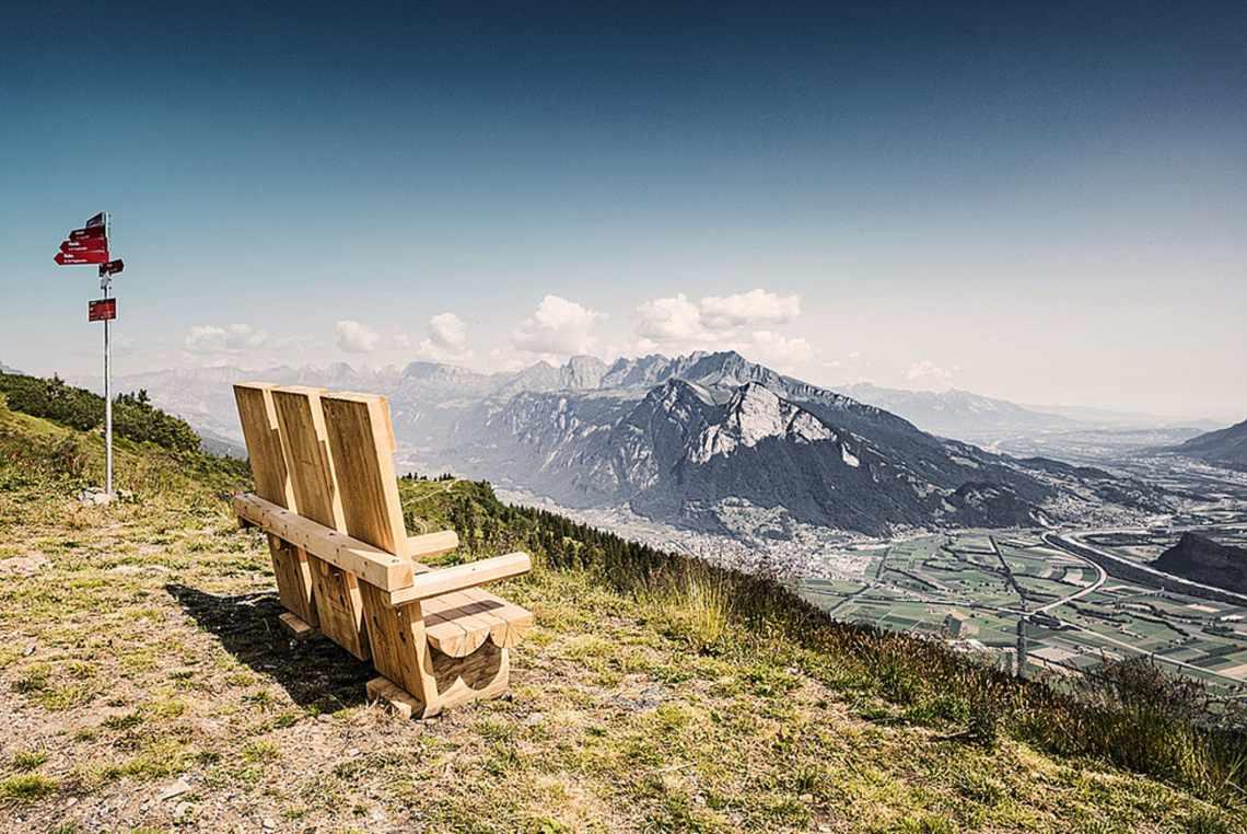Aussicht vom Pizol in das Schweizer Rheintal