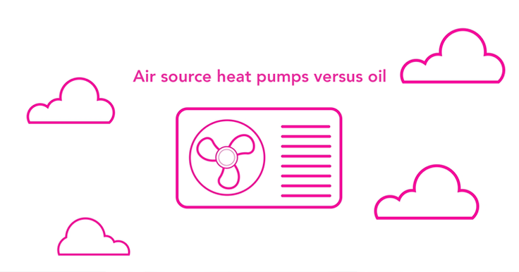 Air source heat pumps versus oil