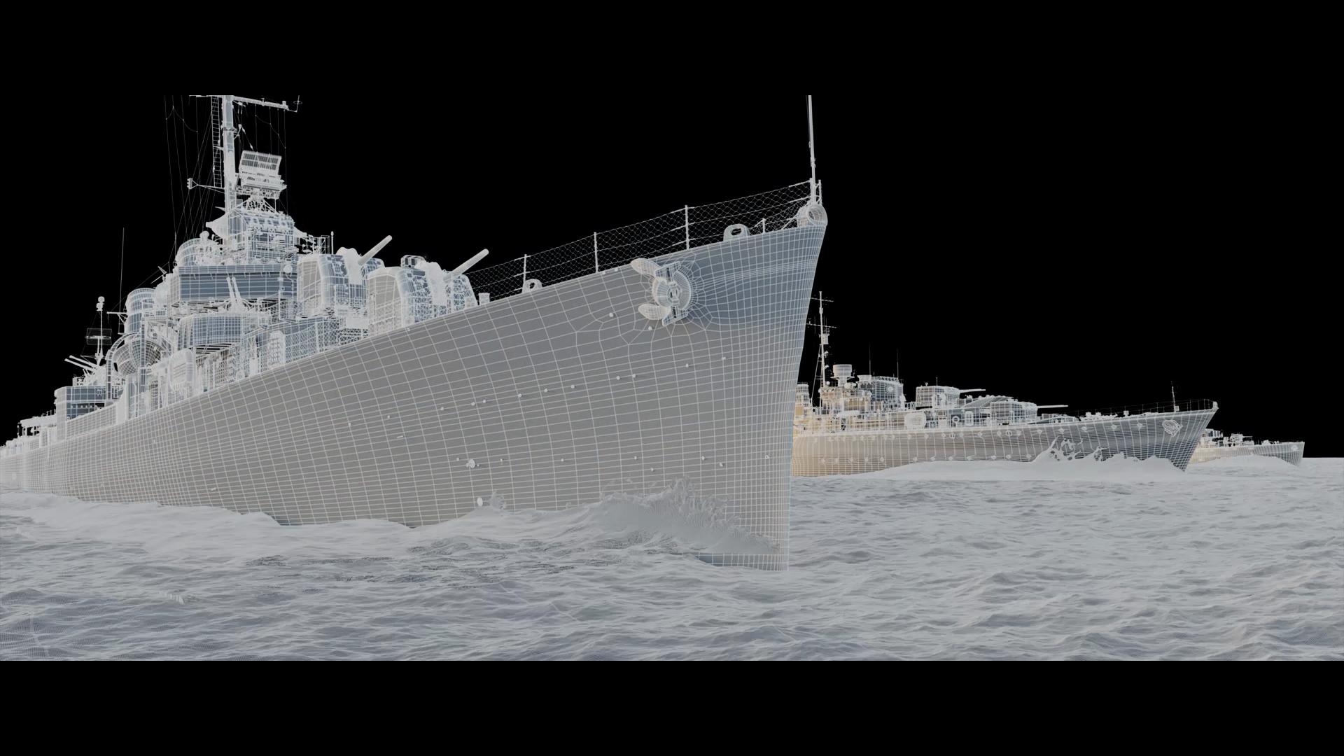 Renderização digital de 3 navios de guerra em mar aberto.