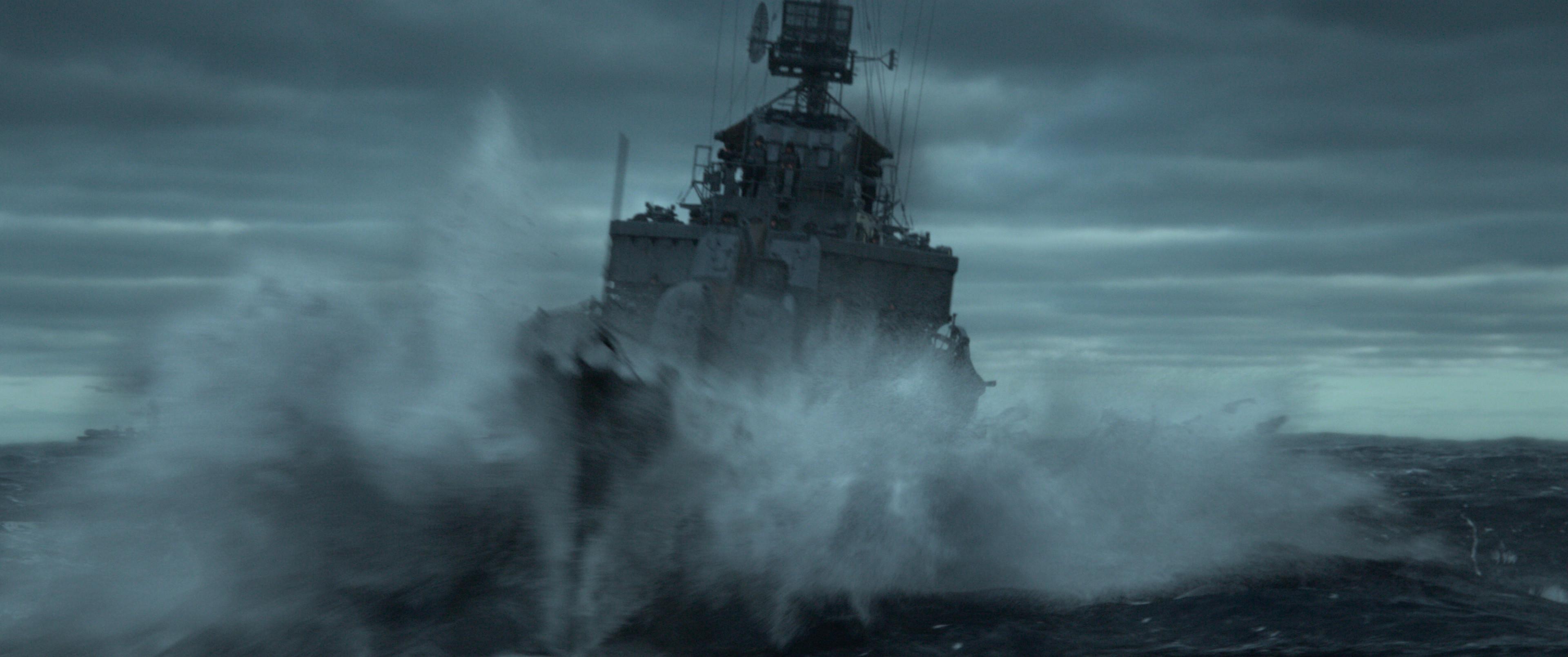 Navio de guerra totalmente renderizado em alto mar.