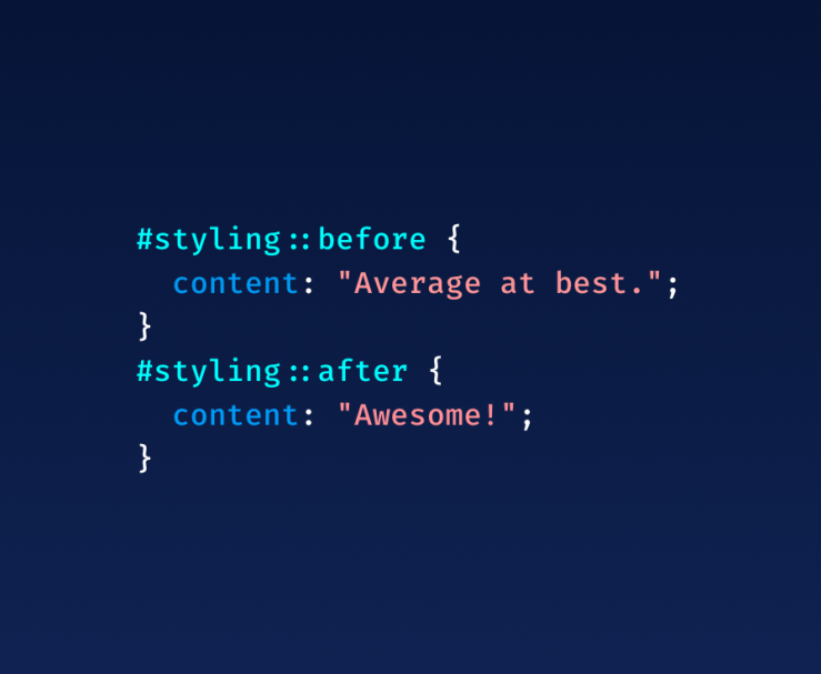A snippet of CSS that says #styling::before { content: