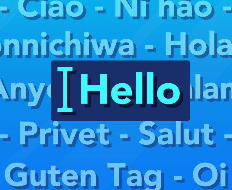 Text 'Hello' in foreground with greetings in several languages in the background.