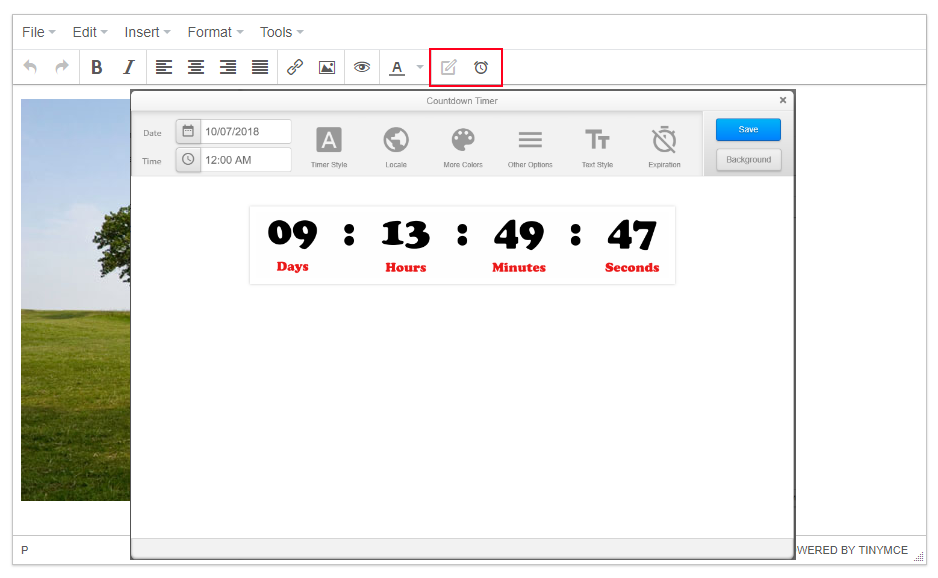 NiftyImages widget buttons countdown timer