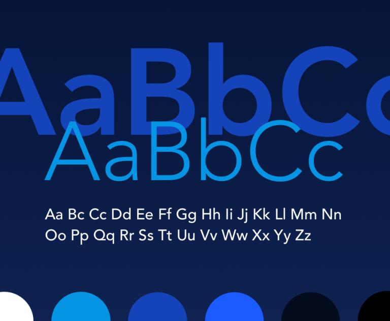 Alphabet in upper and lower case, in different styles and colors.