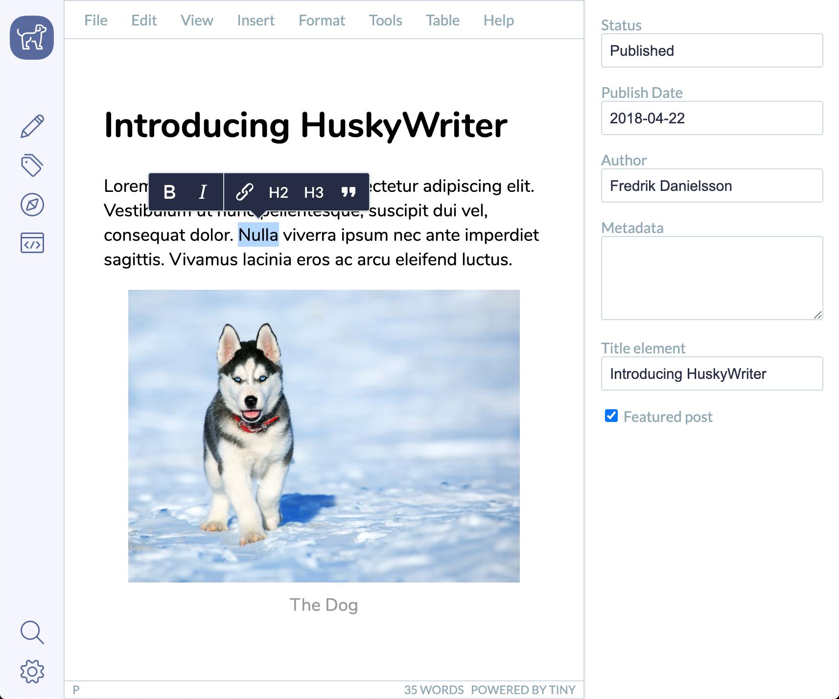 A blogging platform built with TinyMCE.