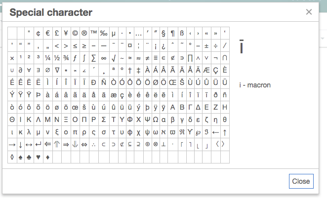 TinyMCE 4 special characters palette