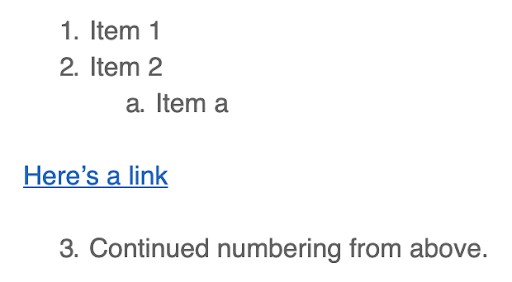 Continue numbering retained by TinyMCE and CKEditor.