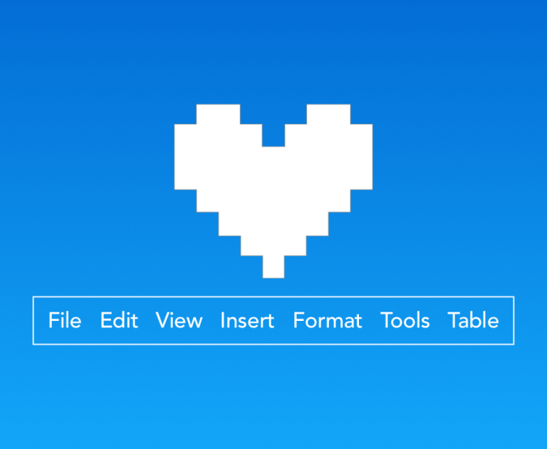 Menu options - File Edit View Insert Format Tools Table - with love heart above.
