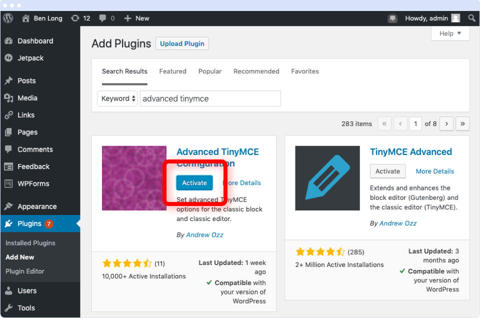 WordPress Add Plugins screen with the Activate button highlighted against the Advanced TinyMCE Configuration plugin.