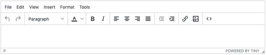 A simple TinyMCE toolbar configuration with the most popular features