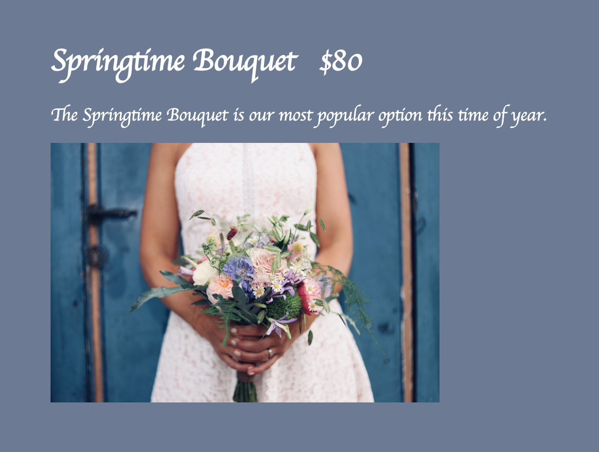 Screenshot of website with an image of a wedding bouquet and cursive text reading