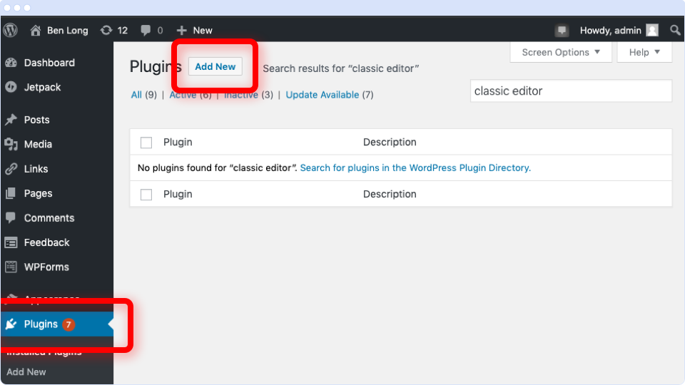 WordPress Plugins screen with the Add New button highlighted.