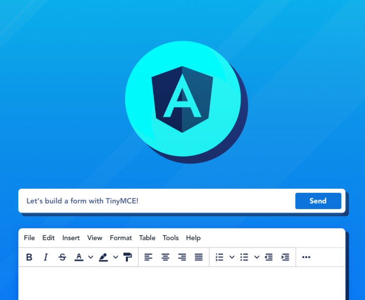 Angular logo, rich text editor, and text field.