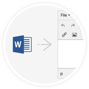 Word icon with an arrow pointing towards the TinyMCE rich text editor.