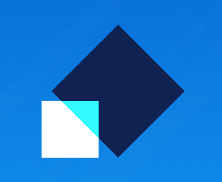 Compare the feature: White and dark blue squares with a light blue background
