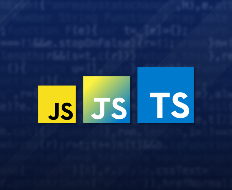 An evolution of the JavaScript logo (JS) to the TypeScript logo (TS), with a made up logo that looks like a combination of the two in between.
