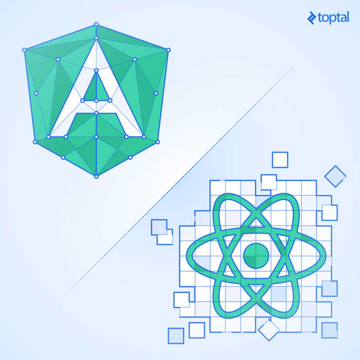 Angular vs React logos