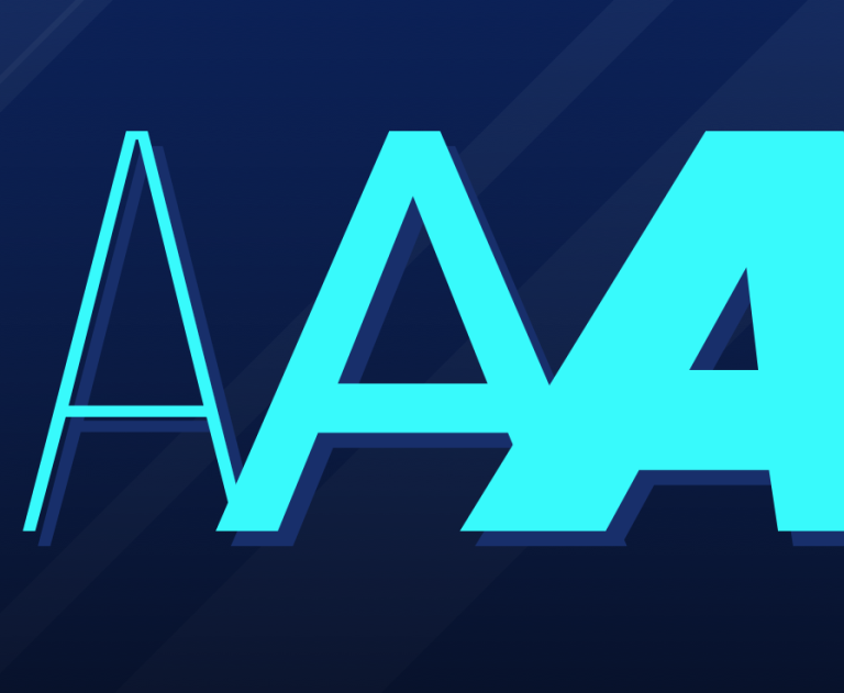 Three capital letter 'A's, each styled differently.