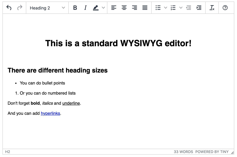 A standard TinyMCE instance.
