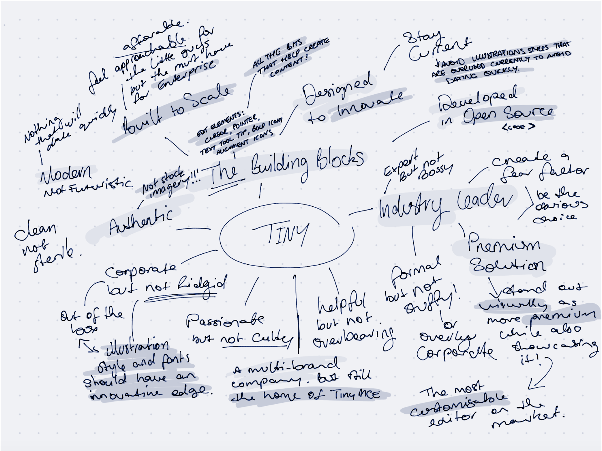 Hand drawn mindmap exploring different ideas and concepts relating to the Tiny brand.