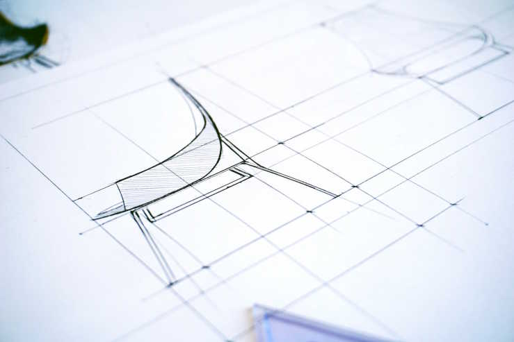 Blueprint of chair design