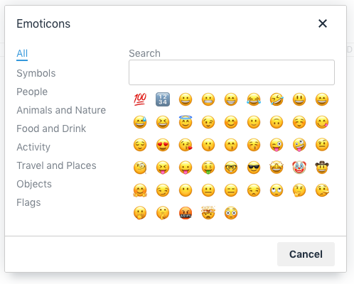 TinyMCE 5 emoticons dialog