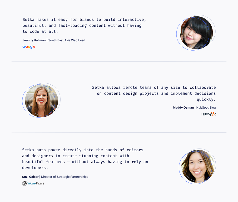 Infographic of testimonials from Google