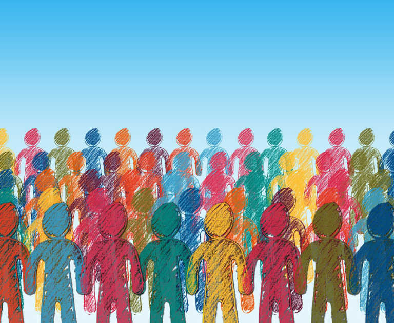 Abstract illustration of a crowd, each person sketched in a different color.