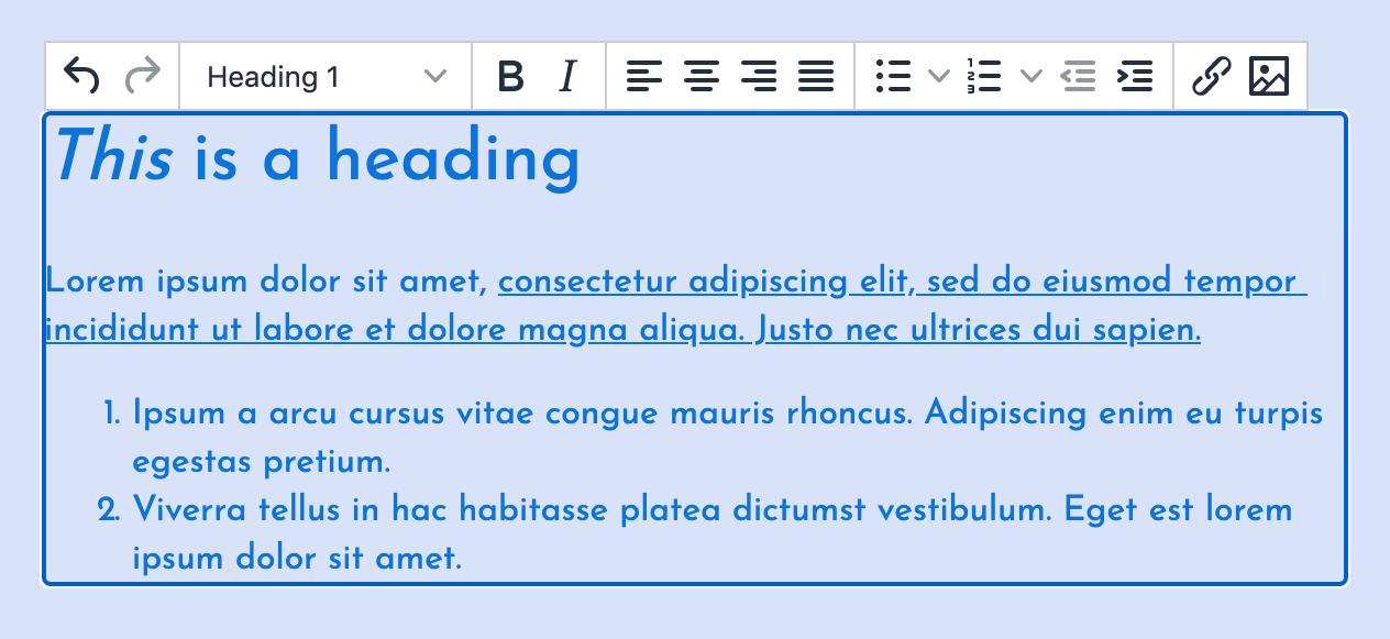 TinyMCE running as inline editor.