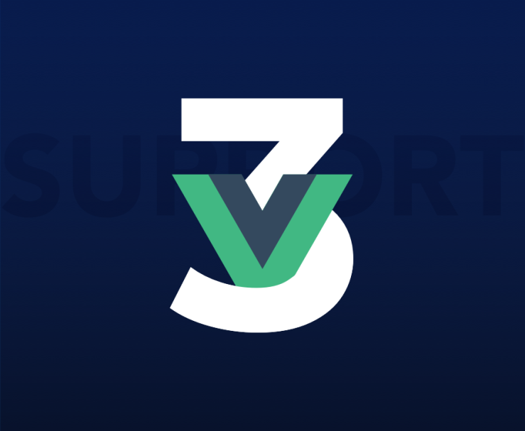 Vue logo sitting within a number 3.