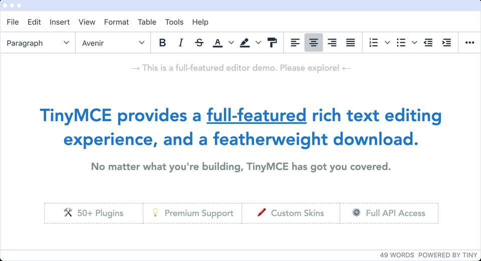 Screenshot of TinyMCE rich text editor.