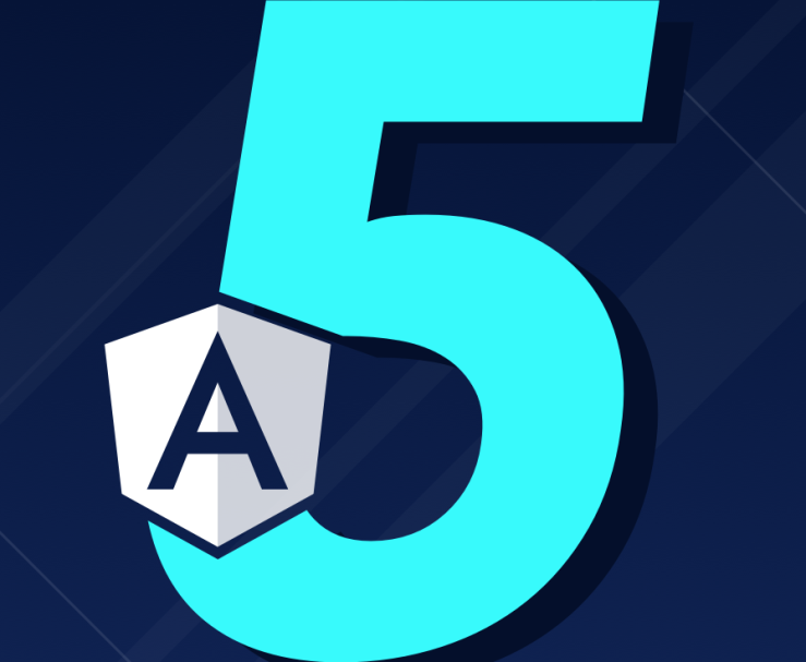 Angular logo and a number 5.