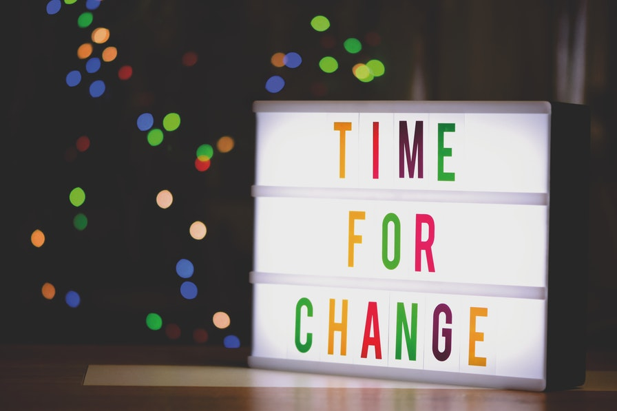 "Lightbox displaying text ""time for change""."