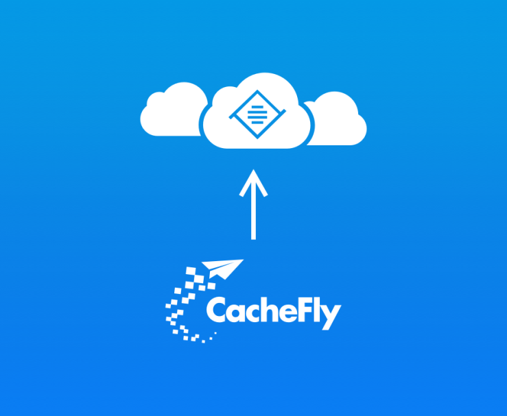 CacheFly logo with arrow pointing towards a cloud with Tiny logo inside.