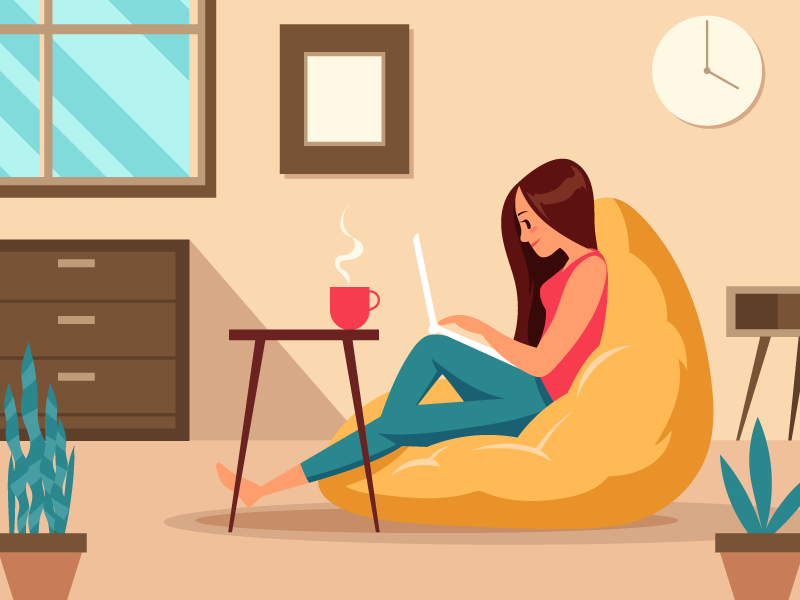 Graphic showing a woman working from home on a beanbag with a laptop and coffee.