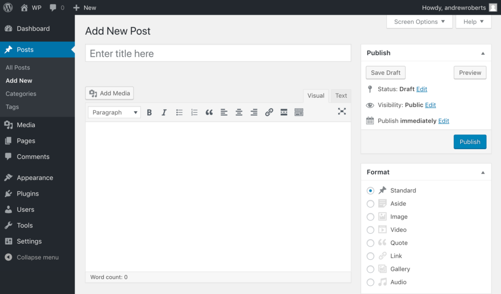 Default WordPress editor interface in V4