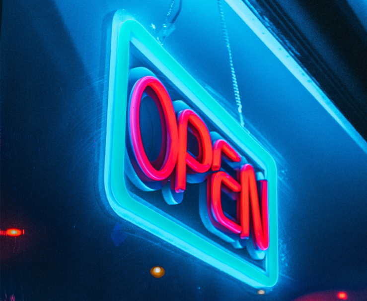 A neon OPEN sign.