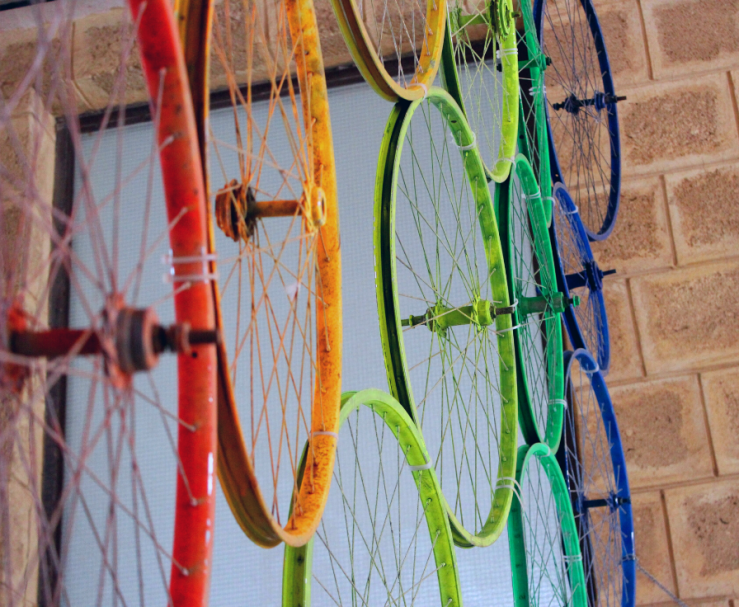 Bike wheels painted different colors