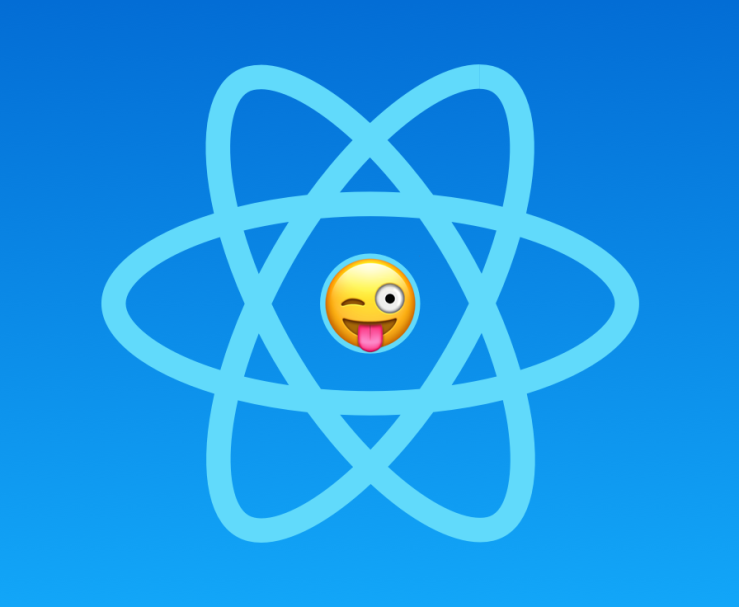 React logo with Winking Face with Tongue emoji in the center.