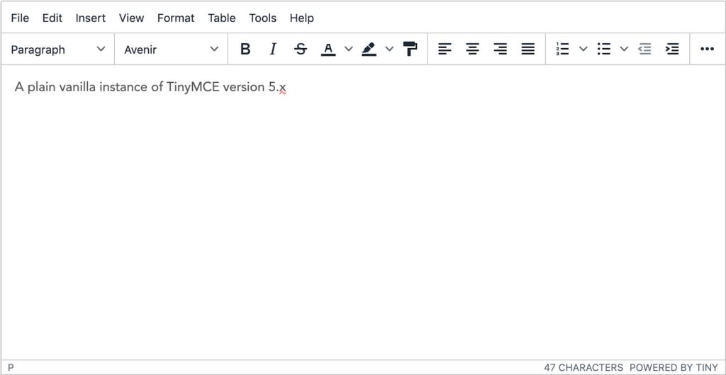 TinyMCE 5 setup in a default